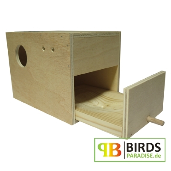 wellensittich nistkasten mit herausnehmbarer nistmulde 20 x 14 x 15 cm. Black Bedroom Furniture Sets. Home Design Ideas